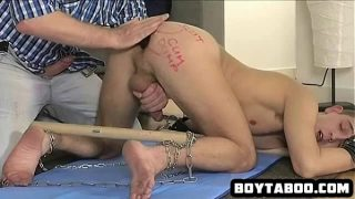 Horny chained up hunk getting fucked hard anally