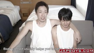 Asian twink jacked off until cumming after anal pounding