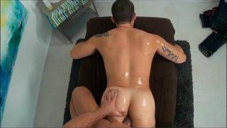GayRoom Big Muscle ass gets a nice surprise massage fuck