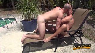 Horny gay dude creampied
