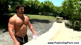 Muscled gay loves sex outdoor